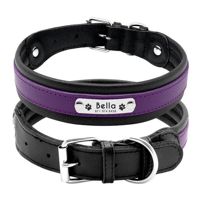 Custom Genuine Leather Dog Collar, Personalized Pet Name ID Collar, purple