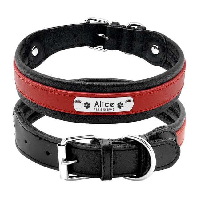 Custom Genuine Leather Dog Collar, Personalized Pet Name ID Collar, red