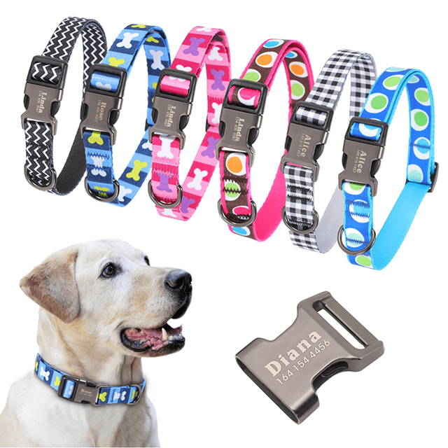 Dog Collar Personalized, Nylon Pet Dog Tag Collar, Custom Puppy Cat Nameplate ID Collars, Engraved