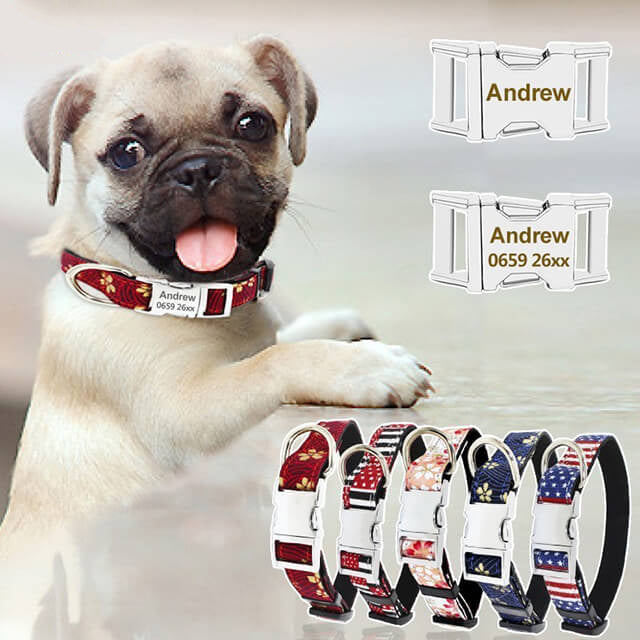 Dog Collar Personalized, Custom Dog ID Tag Collar, Engraved Nameplate Pet Cat Collar Antilost