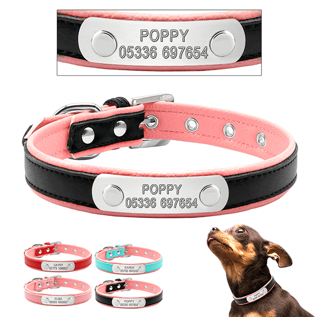 Personalized Leather Dog Collar, Customized dog Collars ,Engraved Name and Phone Number