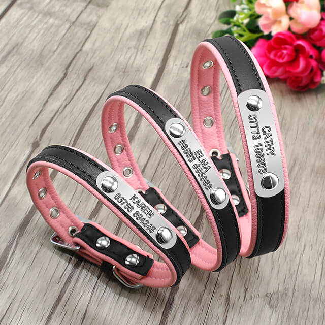 Personalized Leather Dog Collar, Customized dog Collars ,Engraved Name and Phone Number, style