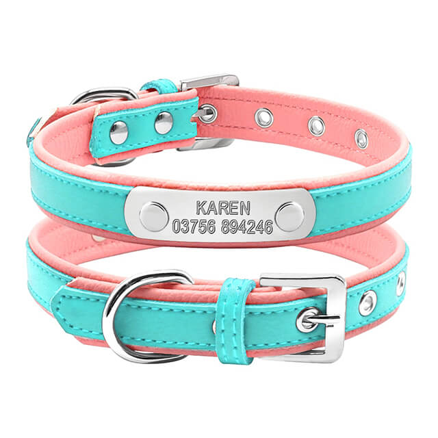 Personalized Leather Dog Collar, Customized dog Collars ,Engraved Name and Phone Number, blue