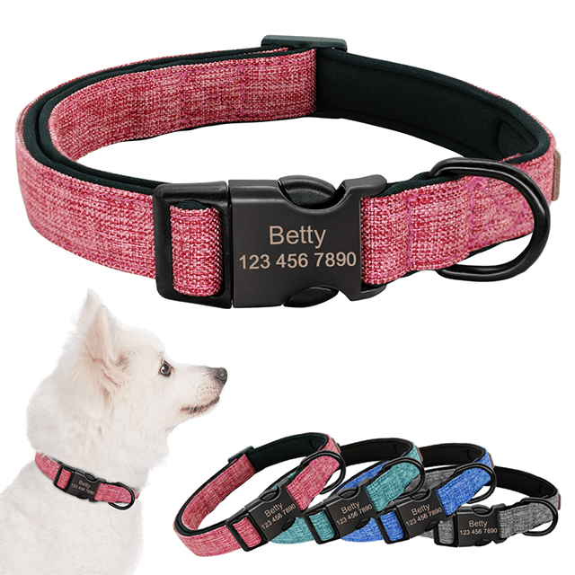Custom Nylon Dog Collar, Custom Engraved Nameplate Collar For Small Medium Large Dogs - personalize-dog-collars