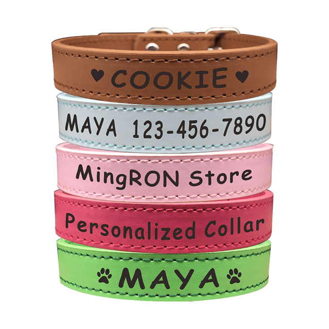 Custom Personalized Dog Collar - Engraved Soft Leather in S, M or L Size, No Tags or Embroidered Names - personalize-dog-collars