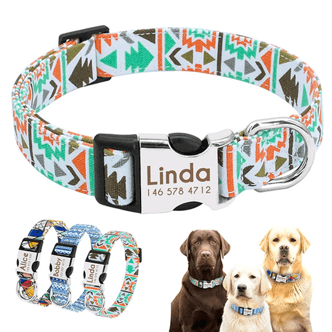 Personalized Nylon Dog Collars, Engrave Name ID for Small Medium Large Pet Chihuahua Pitbull