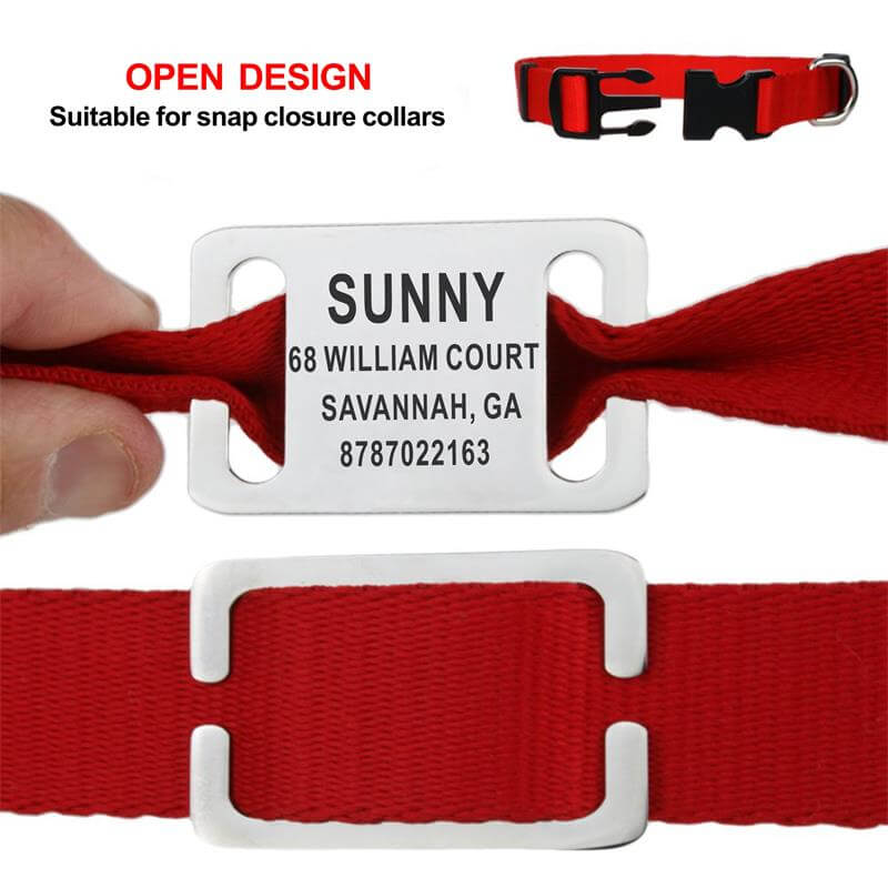 Personalized Pet ID Tag, Slide-on Engraved Stainless Steel Name Tags, Collar Accessories, open