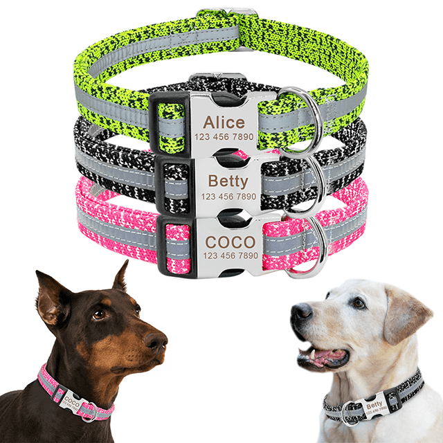 Personalized Dog Collar, Reflective Custom Puppy Collars,  Chihuahua German Shepherd