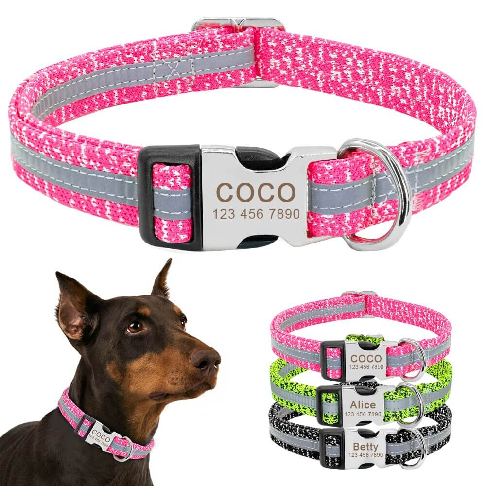 Personalized Dog Collar, Reflective Custom Puppy Collars , Chihuahua German Shepherd