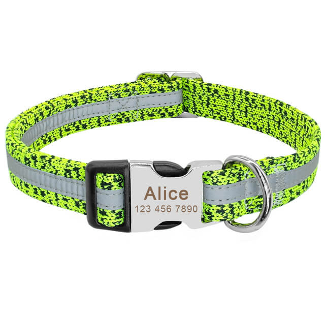 Personalized Dog Collar, Reflective Custom Puppy Collars , Chihuahua German Shepherd, green