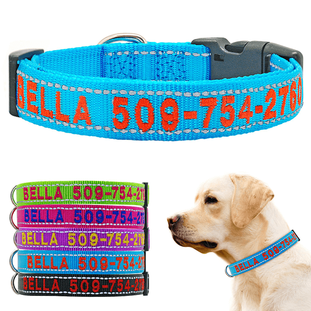 Personalized Dog Collar, Reflective Embroidered Puppy Collar Nylon, Custom Phone Name ID