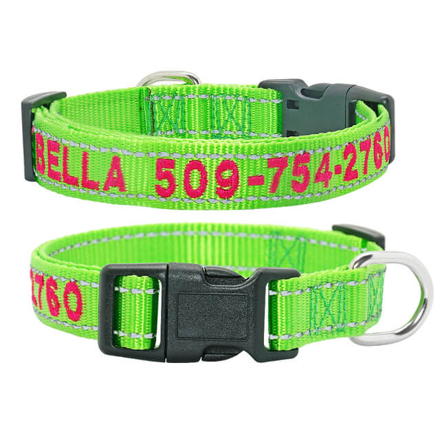 Personalized Dog Collar, Reflective Embroidered Puppy Collar Nylon, Custom Phone Name ID, green