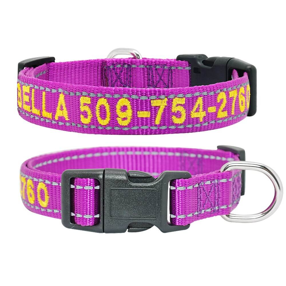 Personalized Dog Collar, Reflective Embroidered Puppy Collar Nylon, Custom Phone Name ID. purple