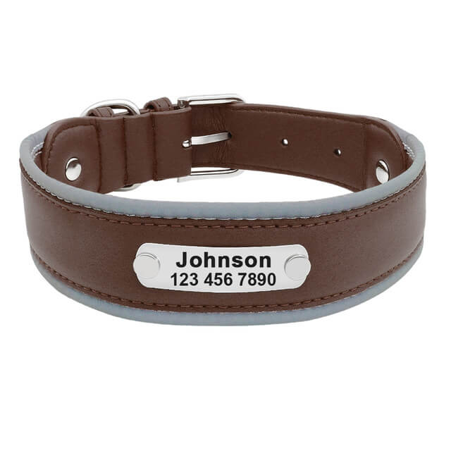 Reflective Large Dog Collar Leather,Personalized Pet Dog Collars, Bull Dogs, German Shepherd, brown