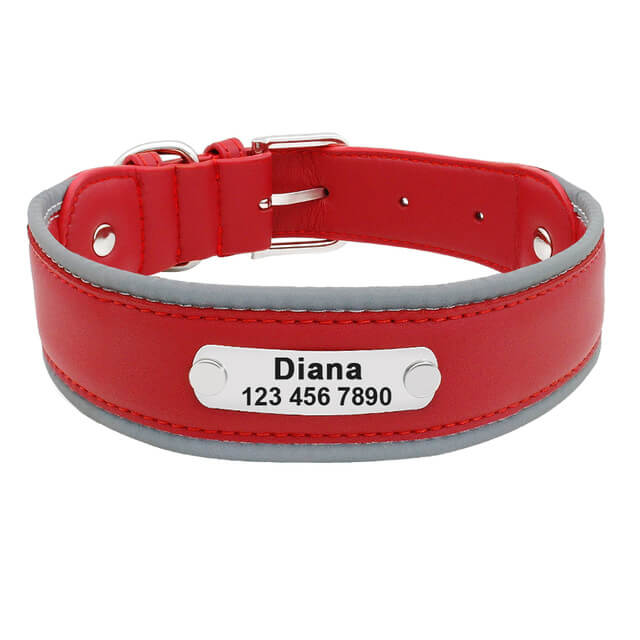 Reflective Large Dog Collar Leather,Personalized Pet Dog Collars, Bull Dogs, German Shepherd, red