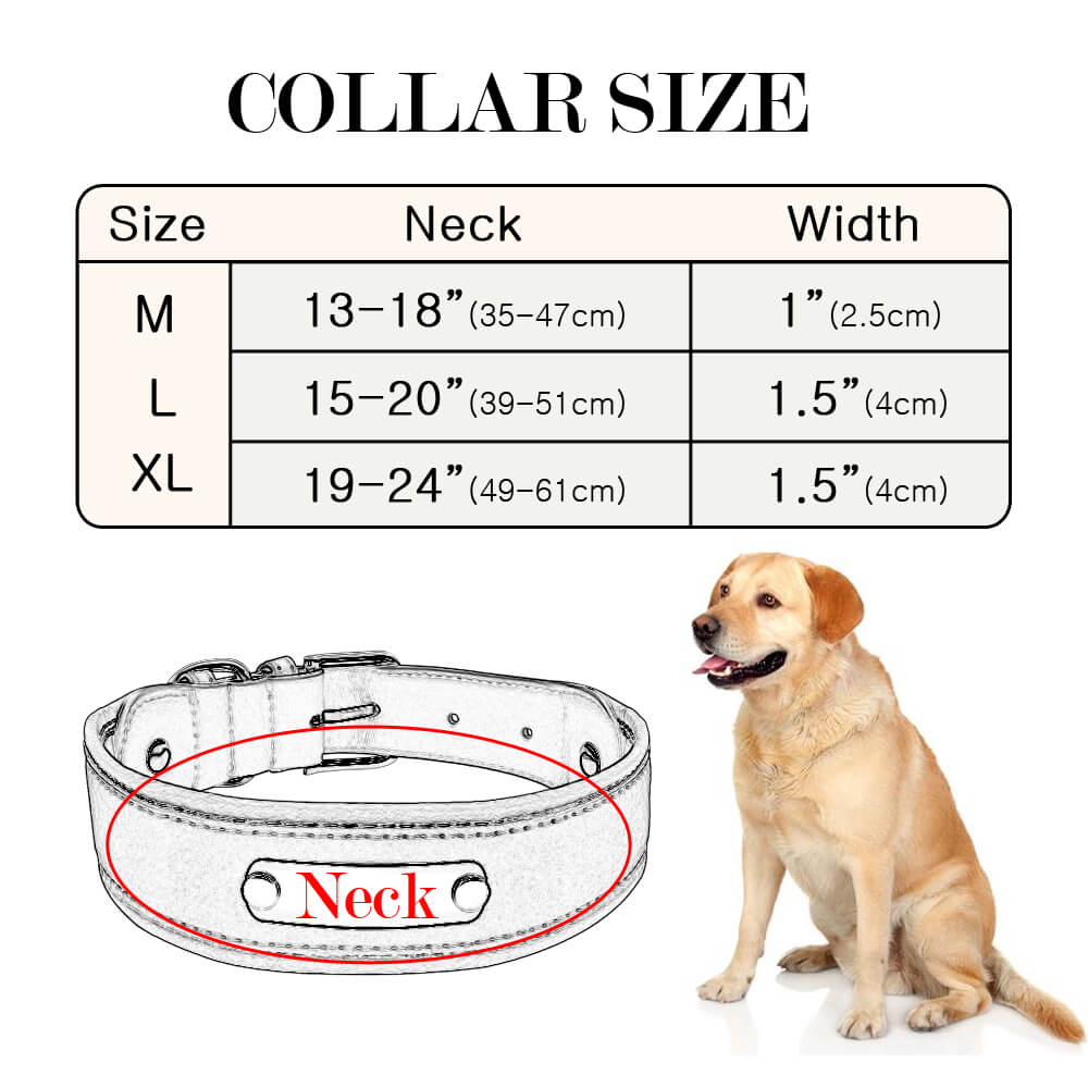 Reflective Large Dog Collar Leather,Personalized Pet Dog Collars, Bull Dogs, German Shepherd, size
