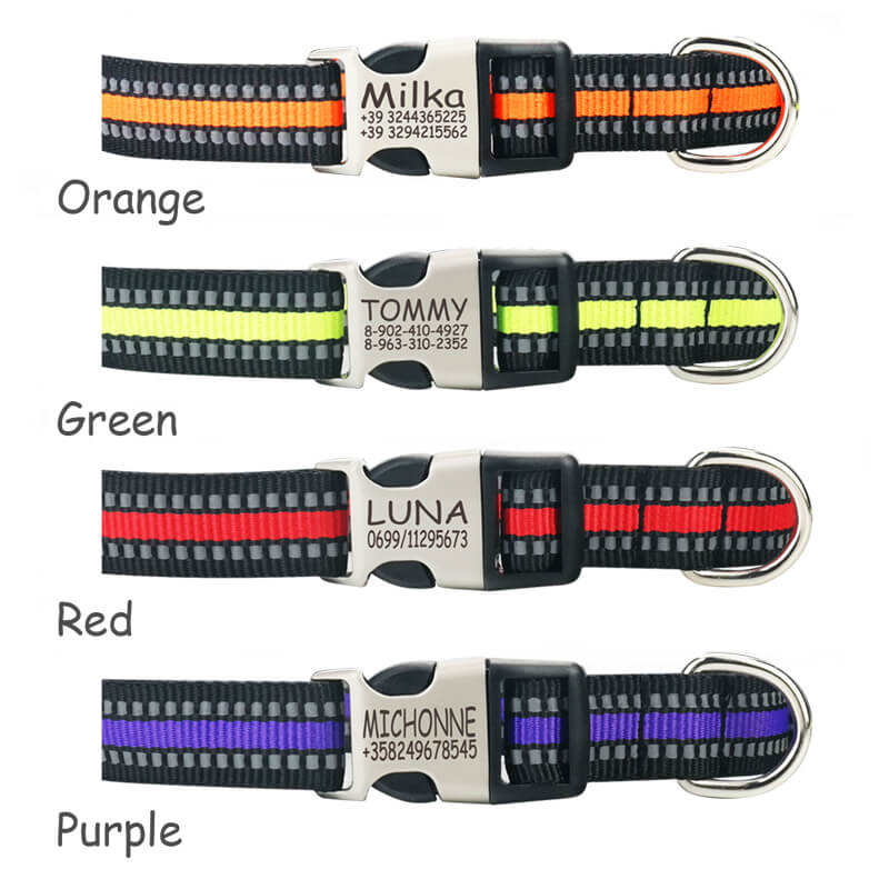 Personalized Reflective Nylon  Engraved Dog Collar, Custom ID Tag