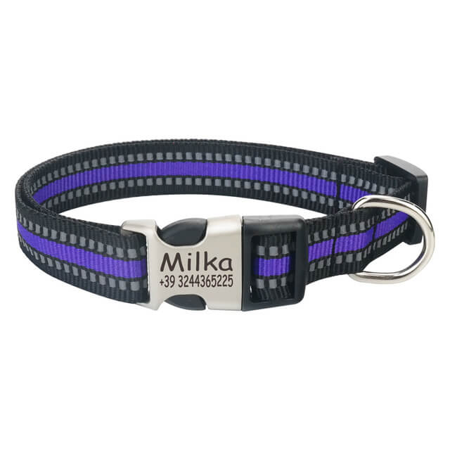 Personalized Reflective Nylon  Engraved Dog Collar, Custom ID Tag ,purple