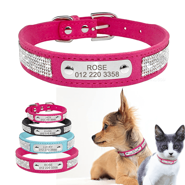 Custom Soft Rhinestone Suede Leather Chihuahua Puppy Cat Collars With Phone ID Tag, Free Engraved