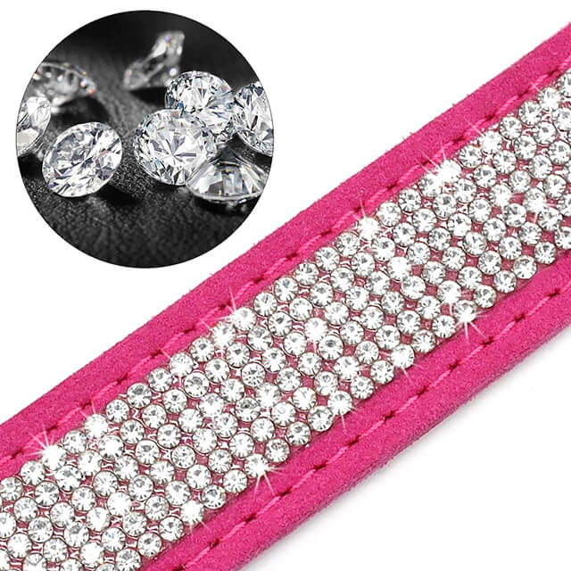 Custom Soft Rhinestone Suede Leather Chihuahua Puppy Cat Collars With Phone ID Tag, Free Engraved, Rhinestone