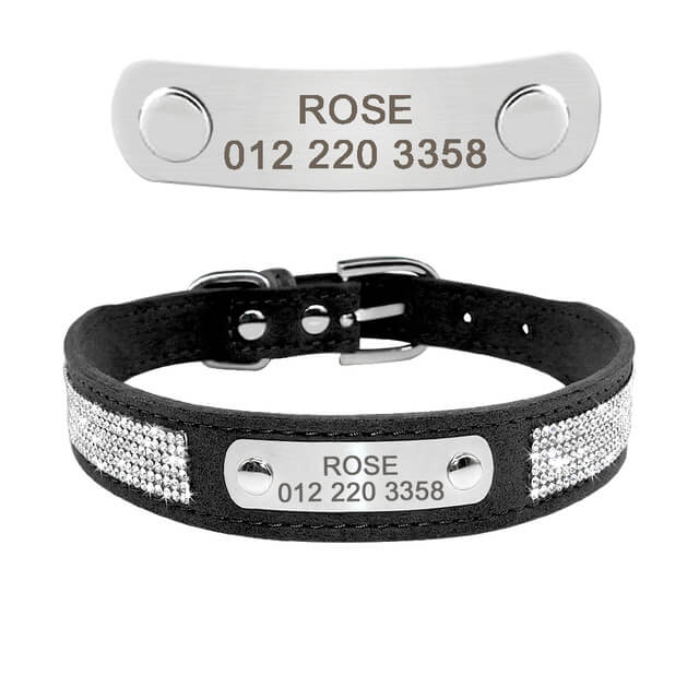Custom Soft Rhinestone Suede Leather Chihuahua Puppy Cat Collars With Phone ID Tag, Free Engraved, black