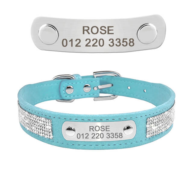 Custom Soft Rhinestone Suede Leather Chihuahua Puppy Cat Collars With Phone ID Tag, Free Engraved, blue