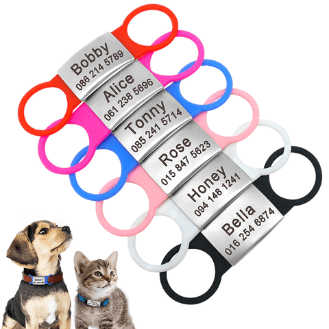 Personalized Stainless Steel Pet ID Tags, Custom Engraved Dog Nameplate Tags Anti-lost, Free Engraved