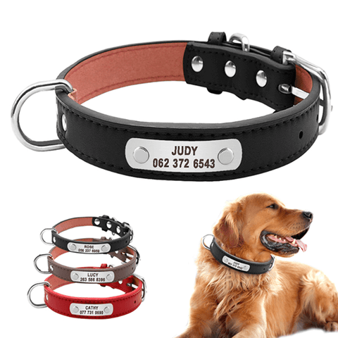 Custom Personalized Leather Dog Collars with Engraved Nameplate ID Tag For Small Medium Dogs