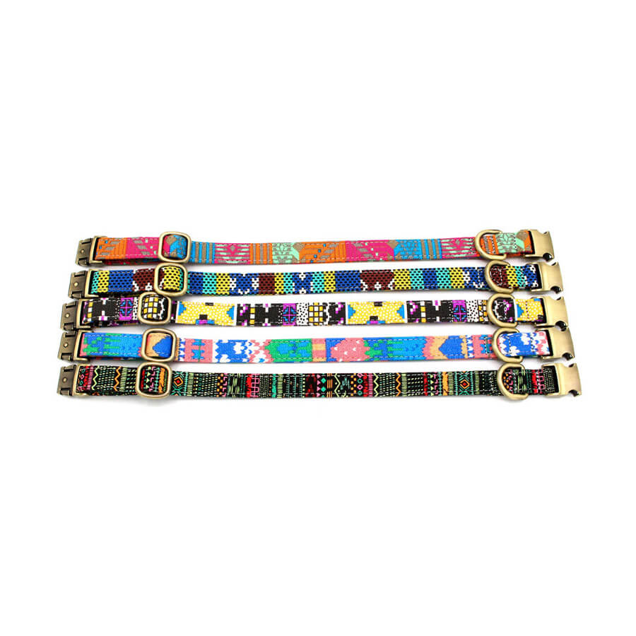 2PC Custom dog Nameplate ID Collars, Bohemia style, 3 Adjustable Sizes: Small, Medium, Large - personalize-dog-collars