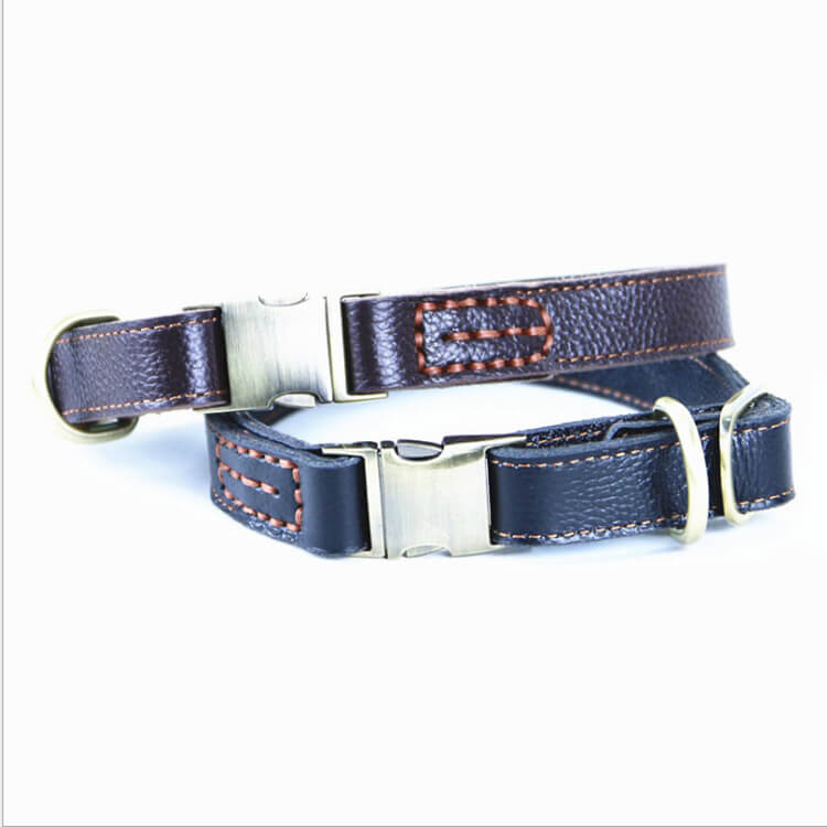 2PC Personalized Soft Touch Luxury Real Leather Dog Collar, Custom Nameplate for Small, Medium, Large - personalize-dog-collars