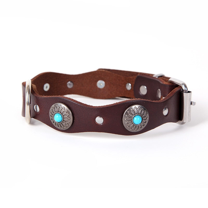 Retro Genuine Leather Dog Collar Personalized With Flower Pattern
