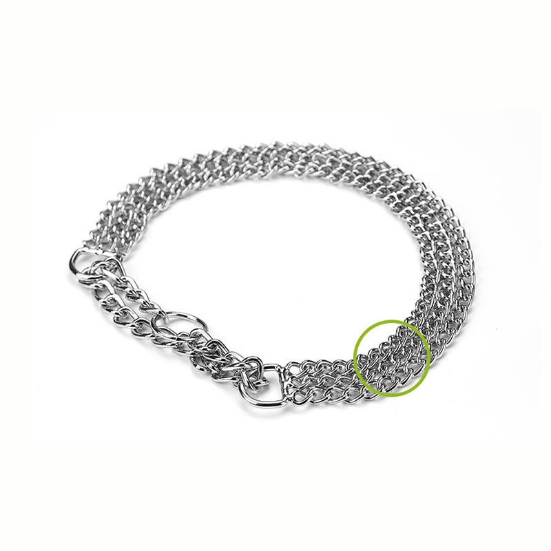Personalized Three-row Training Dog Chain Sliver Iron Adjustable