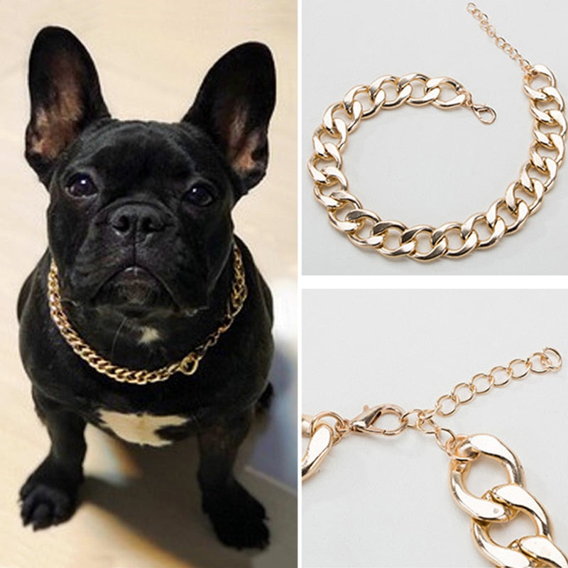 Small Dog Snack Chain Teddy French Bulldog Necklace Silvery/Golden Pet Accessories Dogs Collar