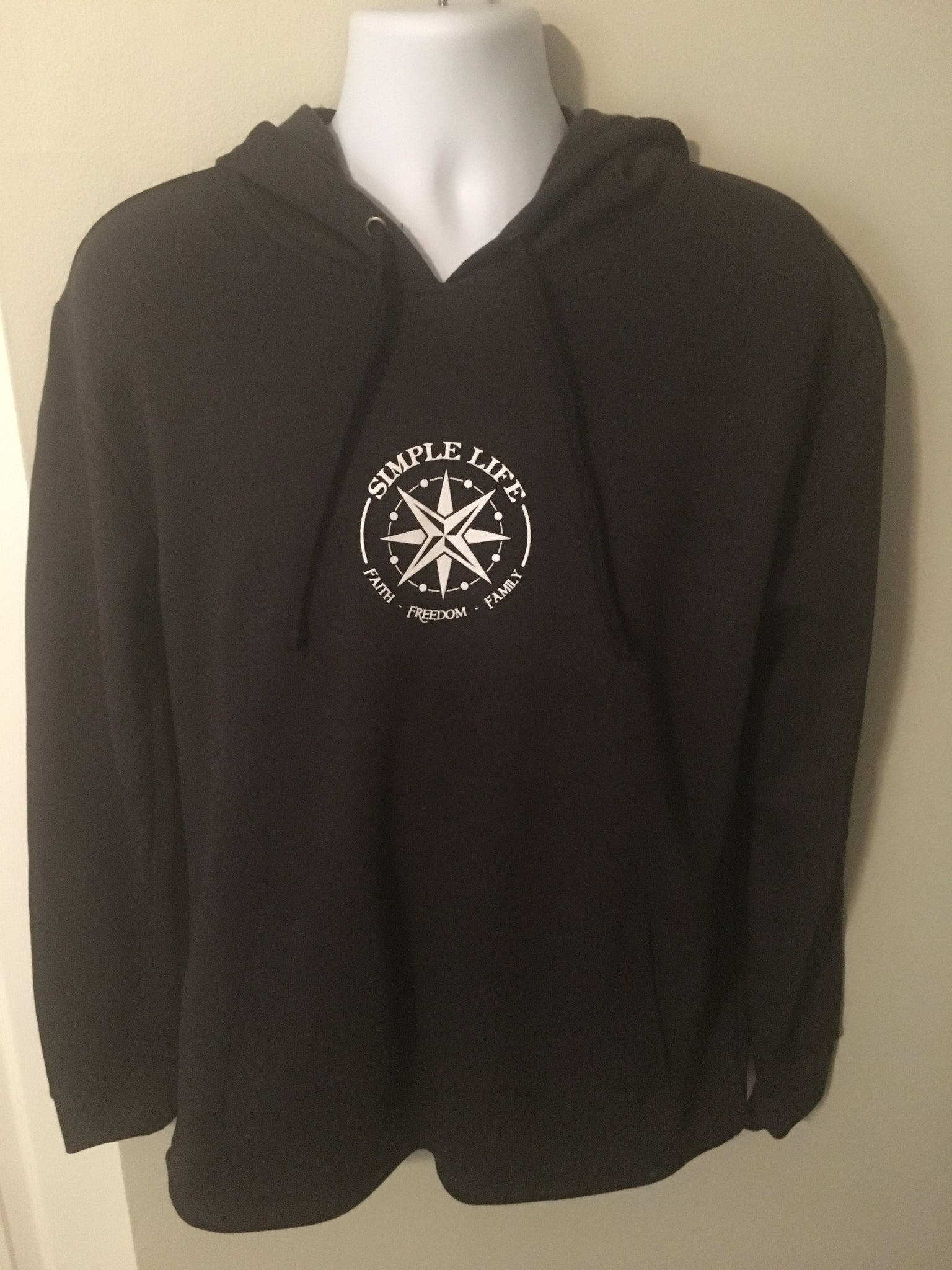 d350f9891e67 Simple Life Pullover Fleece Hoodie-Heather Black with White Logo ...