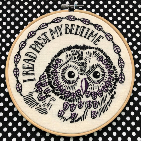 I Read Past My Bedtime - Owl Embroidery Kit