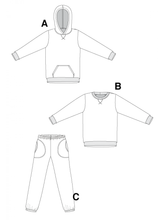 Load image into Gallery viewer, SWEATSHIRT, HOODIE AND SWEAT PANTS - PAPER PATTERN