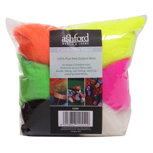 Needle Felt Kit - Ashford Dyed Fibre - Fluro