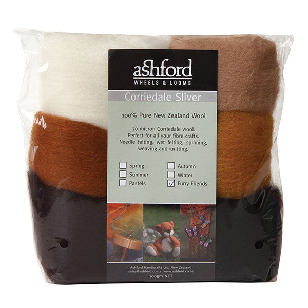 Needle Felt Kit - Ashford Dyed Fibre - Furry Friends
