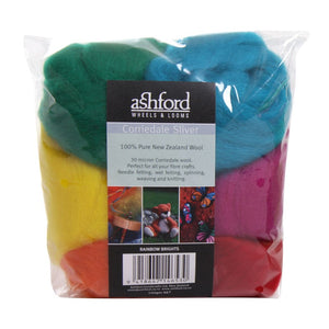 Needle Felt Kit - Ashford Dyed Fibre - Rainbow Brights