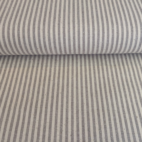 Hemp/Organic Cotton Canvas Stripe - 1/2 Meter - Grey/Natural