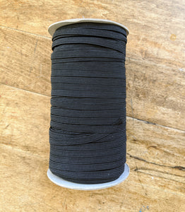 "6mm (1/4"") Elastic - Black - Sold by the Meter"