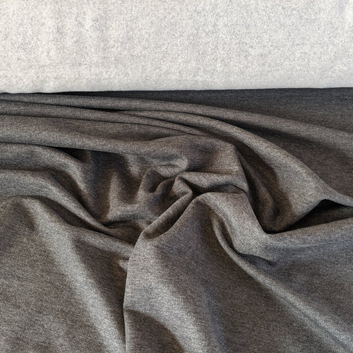 Lyocell (TENCEL™) / Organic Cotton Stretch Fleece - 1/2 meter - Charcoal Mix