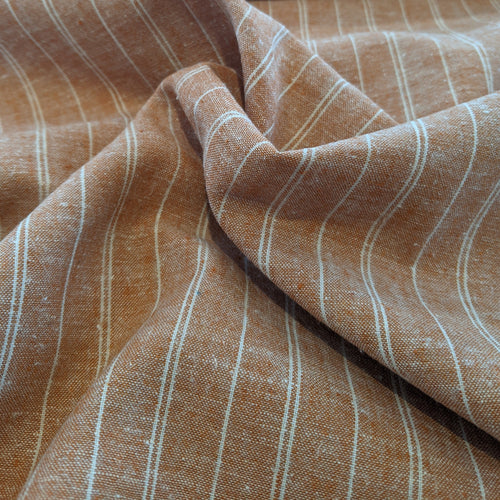 Hemp/Organic Cotton - Yarn Dyed Stripe - 1/2 Meter - Rust
