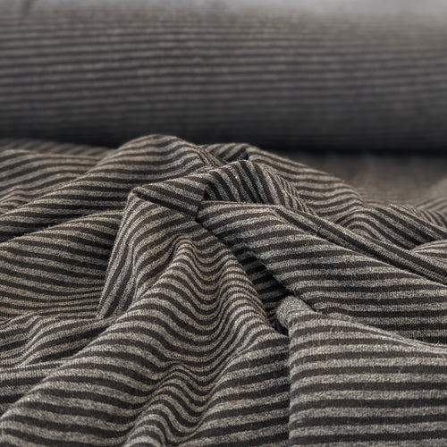 BAMBOO / ORGANIC COTTON JERSEY - 1/2 Meter - Grey / Black Stripe