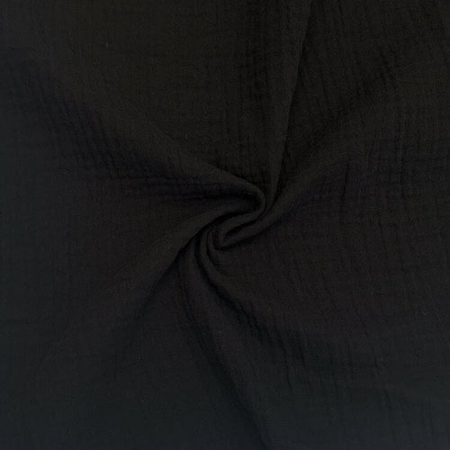 Organic Cotton Double Gauze - 1/2 Meter - Black