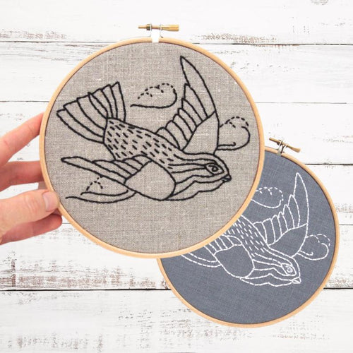 SWALLOW - Complete DIY Embroidery Kit - Natural & Black