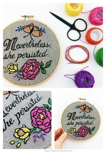 NEVERTHELESS SHE PERSISTED - EMBROIDERY KIT - NATURAL