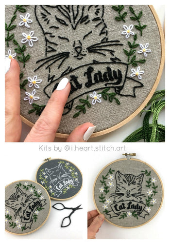 CAT LADY - Complete DIY Embroidery Kit