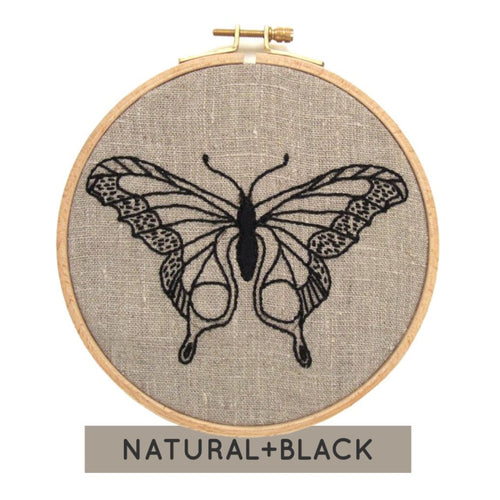BUTTERFLY - Complete DIY Embroidery Kit - Natural