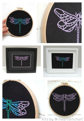 DRAGONFLY - EMBROIDERY KIT - BLACK & PEACOCK